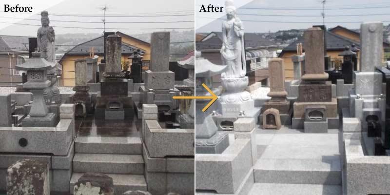 Y様墓所 石碑洗浄・コーティング1
