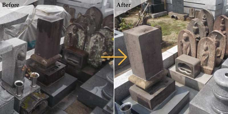 Y様墓所 石碑洗浄・コーティング2